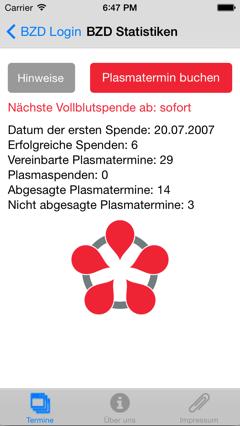 Screenshot Entwicklung BZD Apps